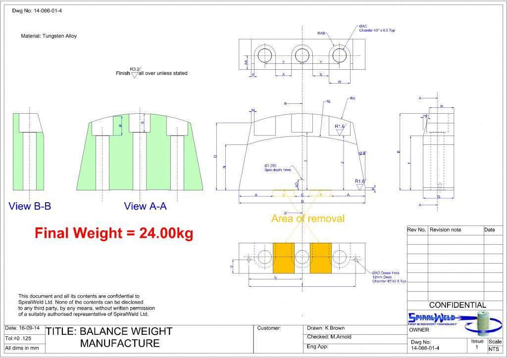 Balance weight manufacture